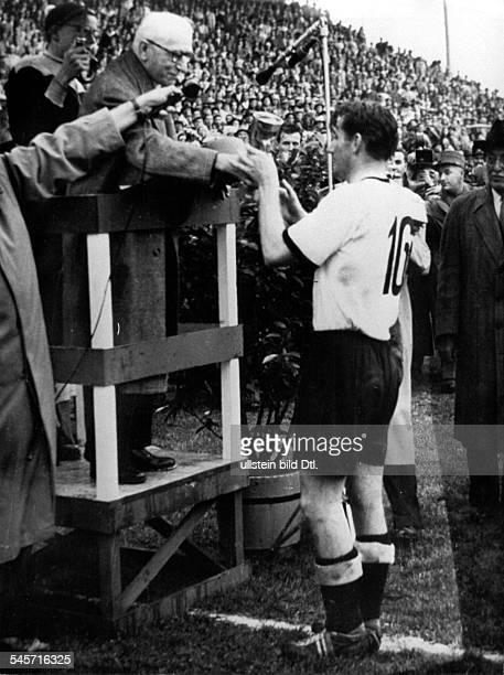 1954 FIFA World Cup in Switzerland Final before 65000 spectators in Bern's Wankdorf Stadium Germany 3 2 Hungary FIFA Honorary President Jules Rimet...