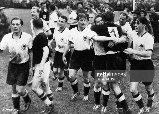 1954 FIFA World Cup in Switzerland Final before 65000 spectators in Bern's Wankdorf Stadium Germany 3 2 Hungary German players celebrating their win...