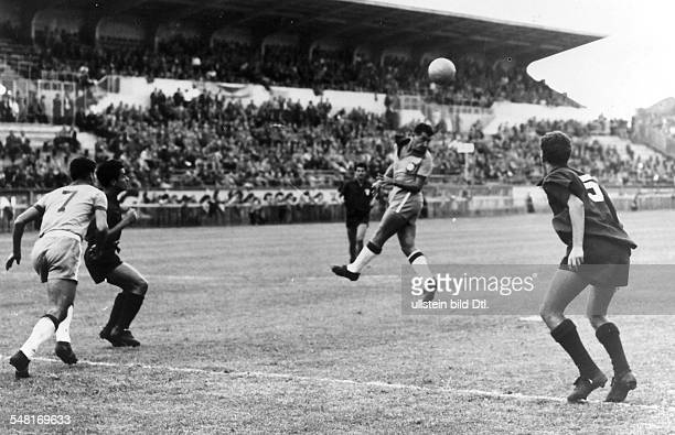 1954 FIFA World Cup in Switzerland First round Group 1 in Geneva before 13000 spectators Brazil 5 0 Mexico Scene of the match a Brazilian player is...