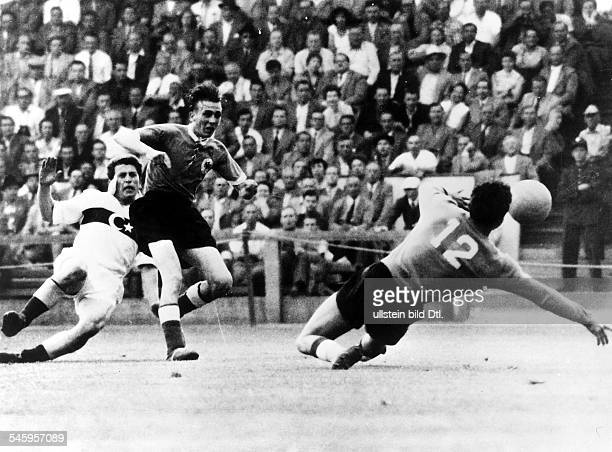 1954 FIFA World Cup in Switzerland First round Group 2 decider in the Zurich Hardtturm Stadium Germany 7 2 Turkey Scene of the match from the left...