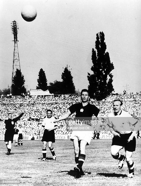 1954 FIFA World Cup in Switzerland First round Group 2 in the SanktJakob Stadium in Basel Hungary Germany 8 3 scene of the match from left referee...