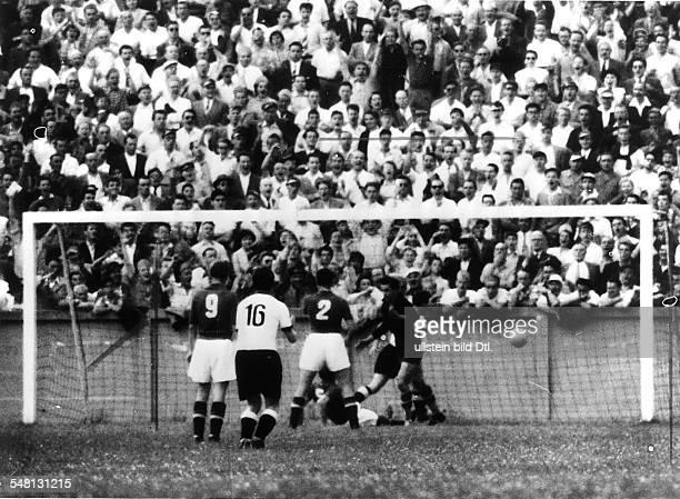 1954 FIFA World Cup in Switzerland Quarterfinal before 15000 spectators in Geneva Germany 2 0 Yugoslavia Scene of the match Germany scoring the lead