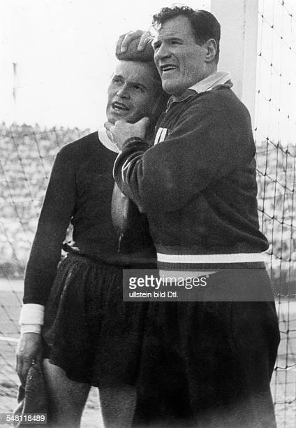 1954 FIFA World Cup in Switzerland Quarterfinal in Lausanne Austria 7 5 Switzerland During the match the Austrian goalkeeper Schmied was suffering a...