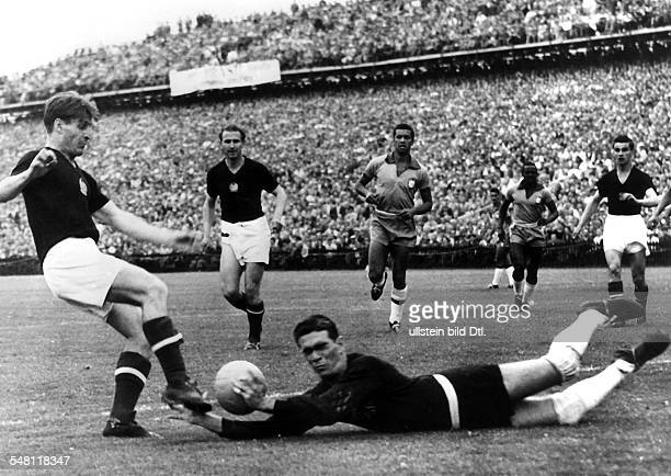 1954 FIFA World Cup in Switzerland Quarterfinal in the Wankdorf Stadium of Bern Hungary 4 2 Brazil Scene of the match in the Brazilian penalty area...