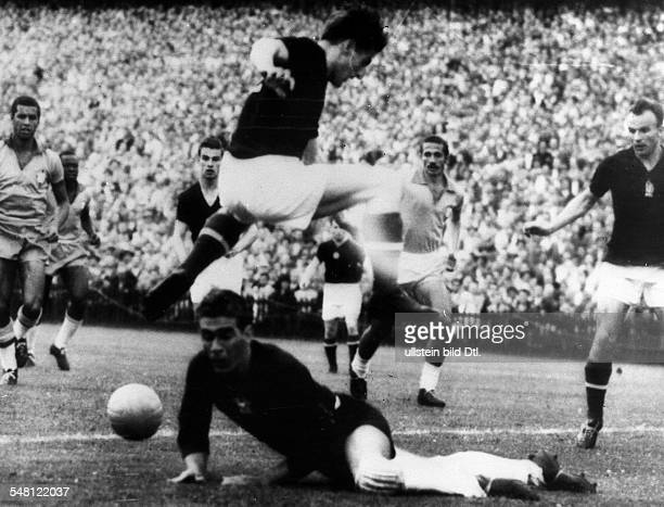 1954 FIFA World Cup in Switzerland Quarterfinal in the Wankdorf Stadium of Bern Hungary 4 2 Brazil Scene of the match in the Hungarian penalty area...