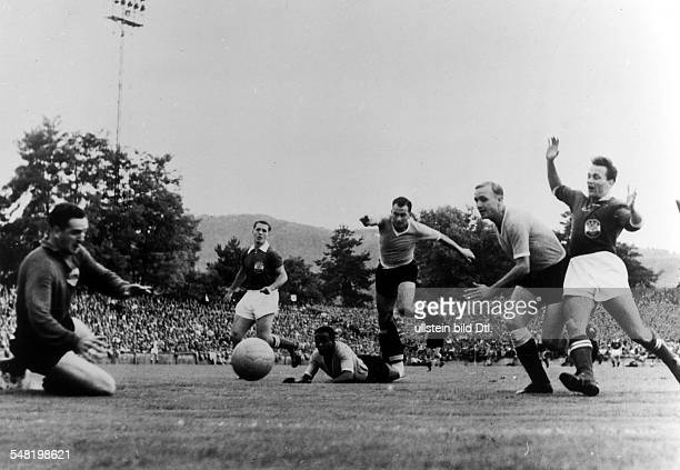 1954 FIFA World Cup in Switzerland Third place playoff in the Hardtturm Stadium in Zurich Austria 3 1 Uruguay Scene of the match in Uruguay's penalty...