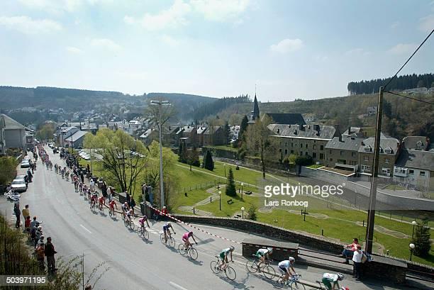 World Cup Liege-Bastogne-Liege -, The peloton in Houffalize.