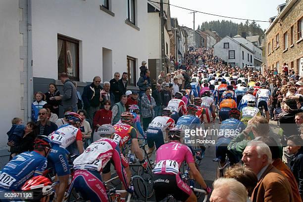 World Cup Liege-Bastogne-Liege -, The peloton on Cote de Saint Roche in Houffalize.