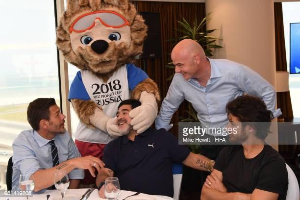 World Cup mascot Zabivaka meets FIFA Legend Diego Maradona as FIFA Deputy Secretary General Zvonimir Boban, FIFA President Gianni Infantino and FIFA...
