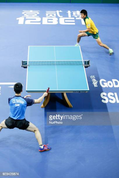 World Cup match between Sangsu LEE of Korea Republic and Heming HU of Australia, group 2 and 3 matches on February 23, 2018 in Olympic Park in...