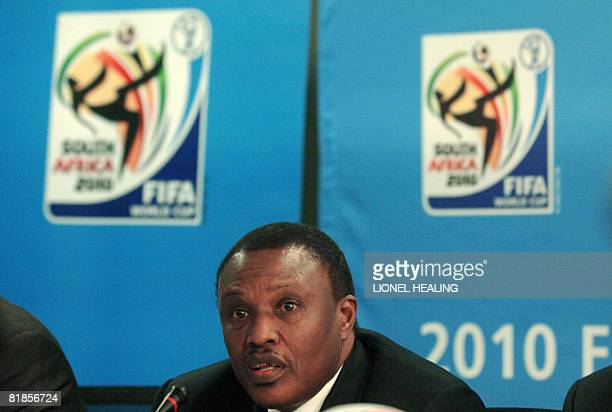 World Cup organising committee chairman Dr Irvin Khoza addresses the press on July 8 2008 in Johannesburg Organisers of the 2010 football World Cup...