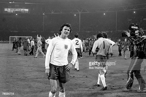 World Cup Qualifier, Wembley Stadium, 17th October England 1 v Poland 1, Dejected English player Roy McFarland almost in tears as he leaves the field...