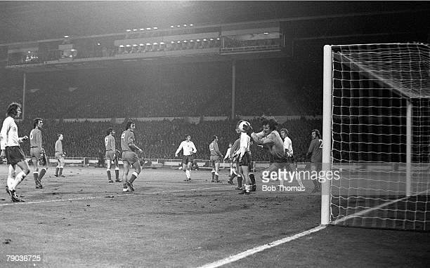 World Cup Qualifier, Wembley Stadium, 17th October England 1 v Poland 1, Poland's goalkeeper Jan Tomaszewski makes one of his many saves to deny...