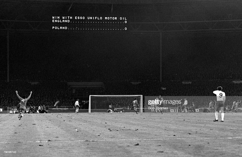 1973 World Cup Qualifier. Wembley Stadium. 17th October, 1973. England 1 v Poland 1. Poland's Domarski scores his side's goal past England goalkeeper Peter Shilton during their vital World Cup qualifier. The 1-1 draw meant England did not qualify for the  : News Photo