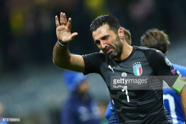 World Cup Qualifiers playoff Switzerland v Northern Ireland Gianluigi Buffon of Italy crying at the end of at San Siro Stadium in Milan Italy on...