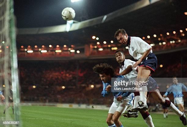 World Cup Qualifying - England v San Marino, David Platt heads home the second of his three goals.
