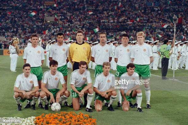 World Cup Quarter Final at the Stadio Olimpico in Rome Italy Republic of Ireland 0 v Italy 1 The Irish team line up before the start of the match...