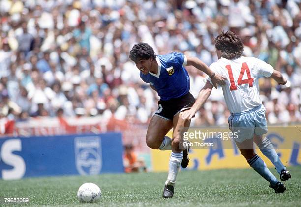 World Cup Quarter Final Azteca Stadium Mexico 22nd June Argentina 2 v England 1 Argentina's Diego Maradona beats England defender Terry Fenwick on...
