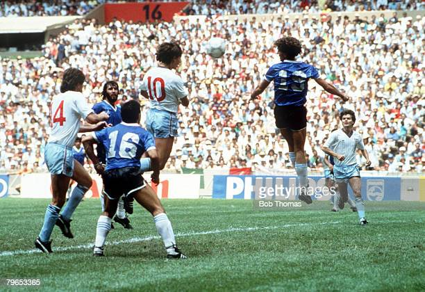 World Cup Quarter Final Azteca Stadium Mexico 22nd June Argentina 2 v England 1 England's Gary Lineker outjumps everyone to head his side's goal