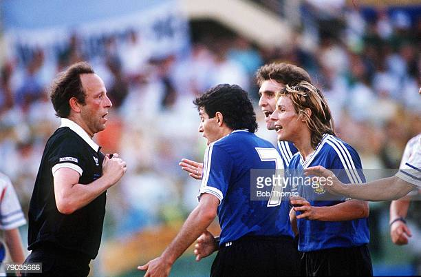 World Cup Quarter Final Florence Italy 30th June Argentina 0 v Yugoslavia 0 Argentina's Jorge Burruchaga Claudio Caniggia and Oscar Ruggeri argue...