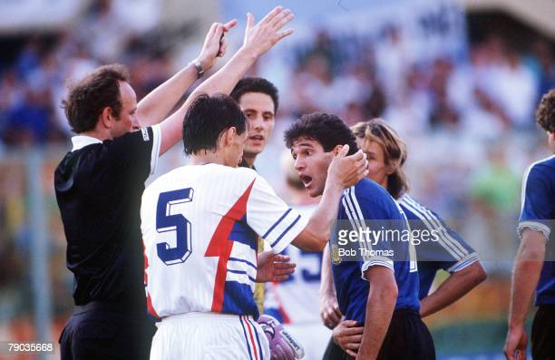 World Cup Quarter Final Florence Italy 30th June Argentina 0 v Yugoslavia 0 Argentina's Jorge Burruchaga argues with Yugoslavia's Faruk Hadzibegic as...