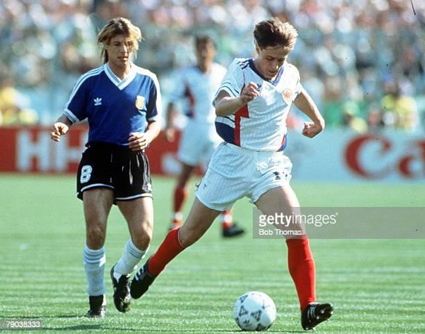 World Cup Quarter Final Florence Italy 30th June Argentina 0 v Yugoslavia 0 Yugoslavia's Dragan Stojkovic moves away from Argentina's Claudio...