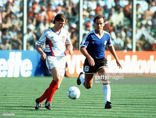 World Cup Quarter Final Florence Italy 30th June Argentina 0 v Yugoslavia 0 Yugoslavia's Dragan Stojkovic is chased for the ball by Argentina's...