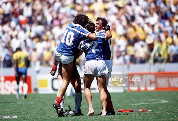 World Cup Quarter Final Guadalajara Mexico 21st June 1986 France 1 v Brazil 1 French players celebrate after Luis Fernandez scored the winning...