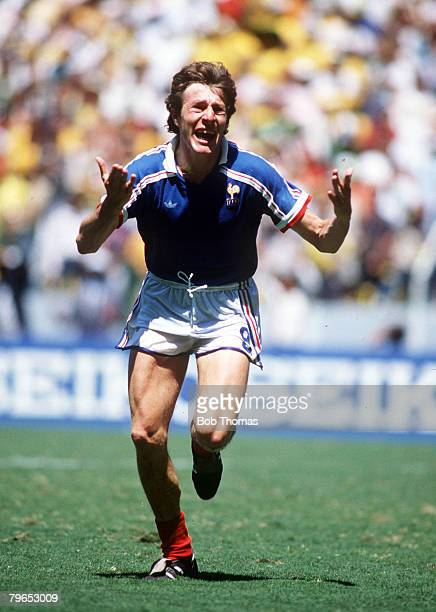 World Cup Quarter Final Guadalajara Mexico 21st June France 1 v Brazil 1 France's Luis Fernandez celebrates after scoring the winning penalty in the...