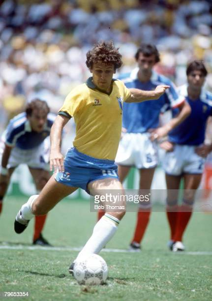 World Cup Quarter Final Guadalajara Mexico 21st June France 1 v Brazil 1 Brazil's Zico shapes to shoot from the penalty spot during the normal ninety...