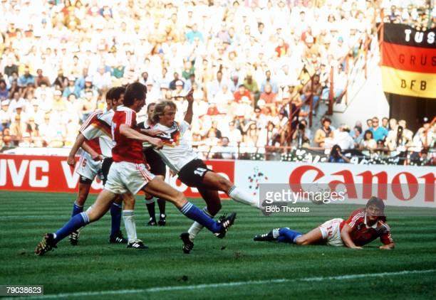 World Cup Quarter Final, Milan, Italy, 1st July West Germany 1 v Czechoslovakia 0, West Germany's Jurgen Klinsmann prepares to shoot at goal as...