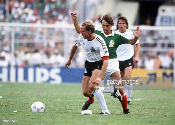 World Cup Quarter Final Monterrey Mexico 21st June West Germany 0 v Mexico 0 West Germany's Karl Heinz Rummenigge with the ball