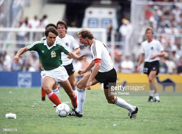 World Cup Quarter Final Monterrey Mexico 21st June West Germany 1 v Mexico 1 West Germany's Karl Heinz Rummenigge on the ball
