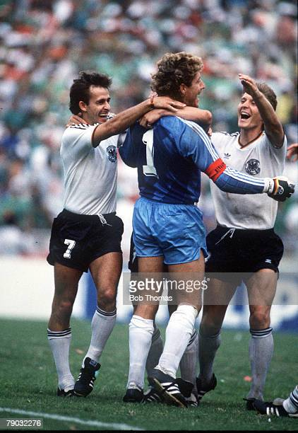 World Cup Quarter Final Monterrey Mexico 21st June West Germany 1 v Mexico 1 West Germany's Pierre Littbarski celebrates with his goalkeeper Harald...