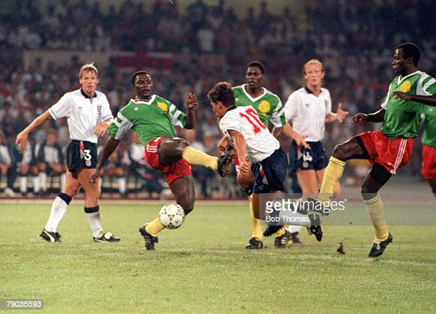 World Cup Quarter Final Naples Italy 1st July England 3 v Cameroon 2 England's Gary Lineker is about to be brought down in the area by a Cameroon...