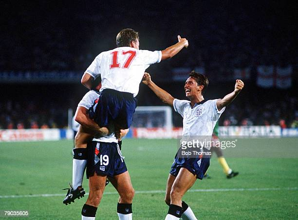 World Cup Quarter Final Naples Italy 1st July England 3 v Cameroon 2 England's David Platt celebrates with Paul Gascoigne and Gary Lineker after...