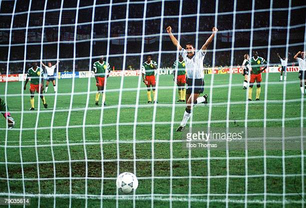 World Cup Quarter Final Naples Italy 1st July England 3 v Cameroon 2 England's Gary Lineker celebrates as he scores his second goal from the penalty...