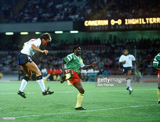 World Cup Quarter Final, Naples, Italy, 1st July England 3 v Cameroon 2 , England's David Platt heads in his side's first goal