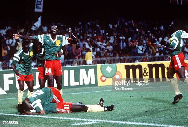 World Cup Quarter Final Naples Italy 1st July England 3 v Cameroon 2 Cameroon players celebrate after Eugene Ekeke scored their second goal to put...
