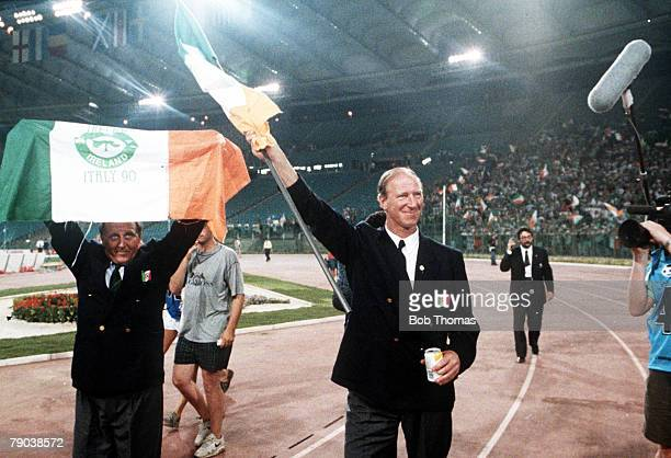 World Cup Quarter Final Rome Italy 30th June Italy 1 v Republic Of Ireland 0 Republic Of Ireland manager Jack Charlton and Assistant Maurice Setter...
