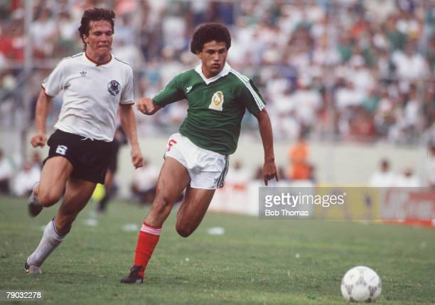 World Cup Quarter Finals Monterrey Mexico 21st June West Germany 1 v Mexico 1 West Germany's Lothar Matthaeus chases Mexico's Abuelo Cruz for the ball