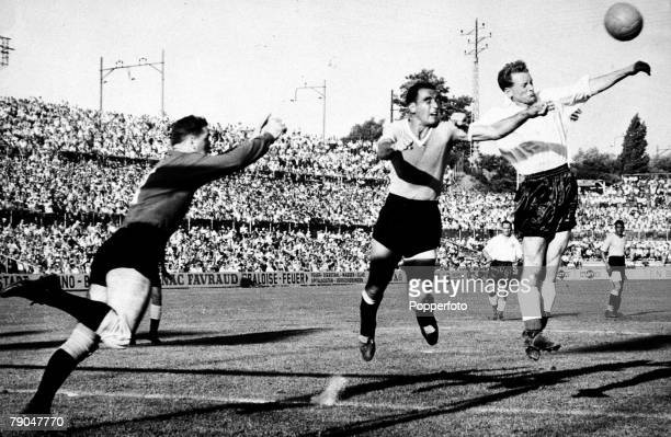 World Cup Quarter-Final Basle, Switzerland,26th June Uruguay 4 v England 2, England's Tom Finney wins the ball in the air during an England attack,...