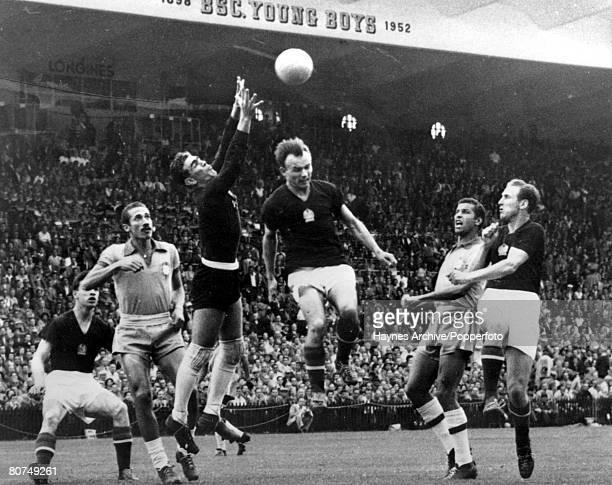 World Cup QuarterFinal Berne Switzerland 27th June Hungary 4 v Brazil 2 Brazilian goalkeer Castillo leaps high amongst a crowd of Hungarian players...