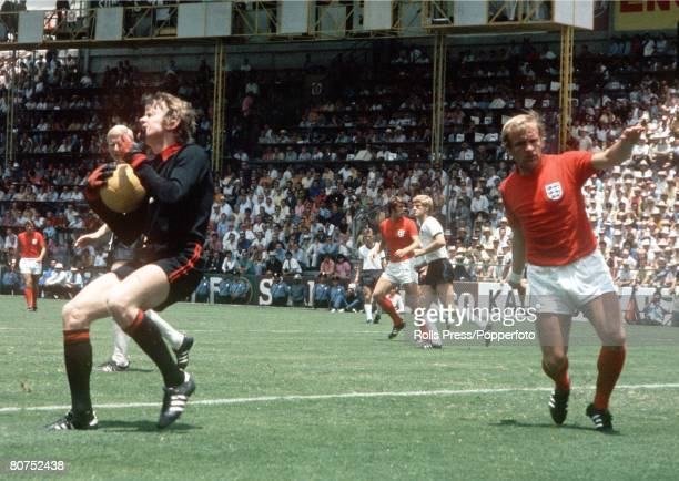 World Cup QuarterFinal Leon Mexico England 2 v West Germany 3 14th June West Germany's goalkeeper Sepp Maier comes out to collect the ball as the...