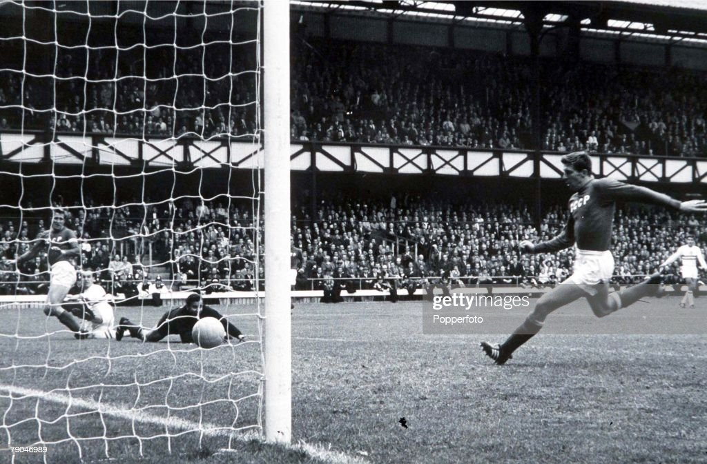 World Cup Quarter-Final, 1966. Sunderland, England. 23rd July, 1966. Soviet Union 2 v Hungary 1. Hunagry's Ference Bene scores his side's only goal past Soviet goalkeeper Lev Yashin as his defenders try to get back. : News Photo
