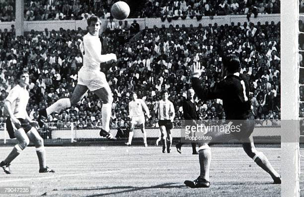 World Cup QuarterFinal Wembley Stadium London England England 1 v Argentina 0 23rd July England forward Geoff Hurst scores the only goal of the game...