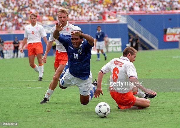 World Cup QuarterFinals Dallas USA 9th July Brazil 3 v Holland 2 Brazil's Romario falls after being fouled by Holland's Jan Wouters