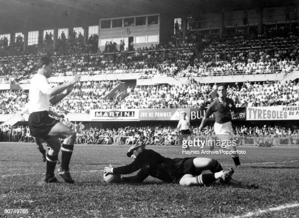 World Cup QuarterFinals Lausanne Switzerland 26th June Austria 7 v Switzerland 5 Swiss goalkeeper parlier dives at the feet of Austrian striker...