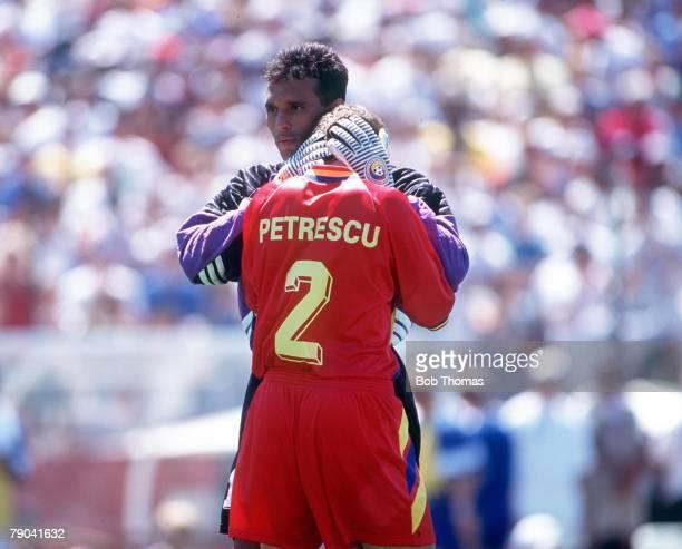 World Cup QuarterFinals Stanford USA 10th JULY 1994 Sweden v Romania Romania goalkeeper Prunea consoles teammate Dan Petrescu after they were...