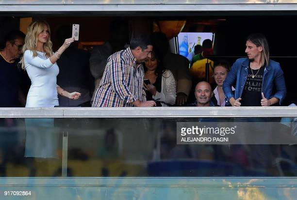 World Cup Russia 2018 ambassador Victoria Lopyreva next to Argentina's national football team head coach Jorge Sampaoli and Argentina's Boca...